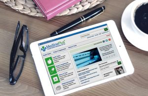 tablet showing MedlinePlus webpage