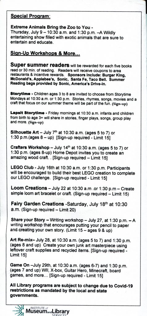 Check out the upcoming events for Kids at the Ada Public Library durnig the month of July.